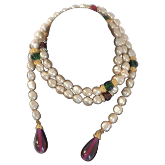 Vintage 1980 Deanna Hanroe faux Pearl Necklace
