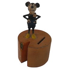 1930's Deans Rag Mickey Mouse Metal Bank