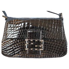 Fendi Alligator Crystal Buckle Mini Evening bag