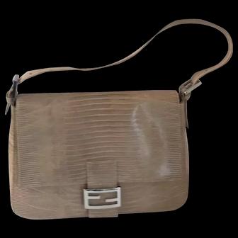 Rare Fendi Beige Lizard Mama Bag