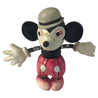 Rare 1930 Mickey Mouse Five Gloved Celluloid Figure