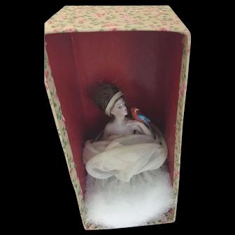 Rare Galluba Hofmann Half Doll w Parrot in Original Box