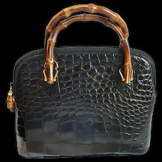 Gucci Alligator Bamboo Bag