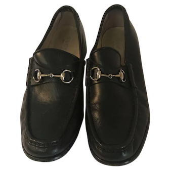 Vintage Gucci Black Leather Loafers