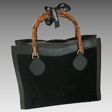 Vintage Gucci Black Pigskin and Suede Tote