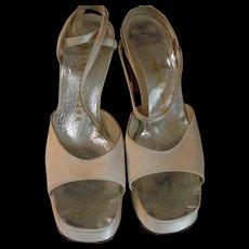 1960s Vintage Herbert Levine Ivory Silk Platforms - Never worn