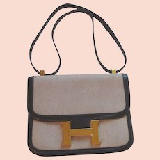 Hermes Constance 23 CM Brown Leather and Canvas Bag