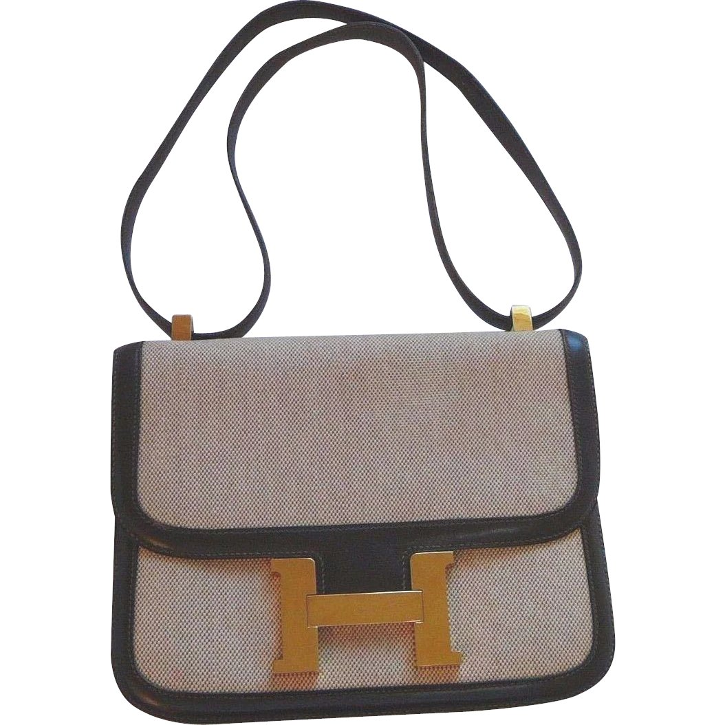 2b6945ec5712 Hermes Constance 23 CM Brown Leather and Canvas Bag   Tiggertiques ...