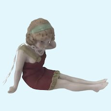 Rare PreColored Hertwig Bathing Bisque Doll