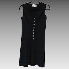 Vintage 1960s Kimberely Virgin Wool Dress w Rhinestone Buttons