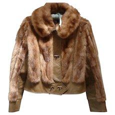 Vintage 1970's Mink and Leather Short Jacket