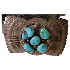 Vintage Native American Sterling Silver and Turquoise Concho  Belt