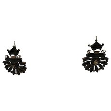 Antique Victorian Mourning Onyx and Natural Seed Pearl Earrings