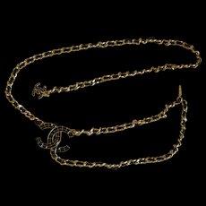 Rare Vintage Chanel Black Rhinestone Silk Belt
