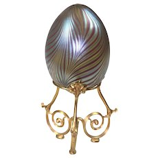 Art Glass Blown Egg on Stand by Vandermark (1943 to 1982)
