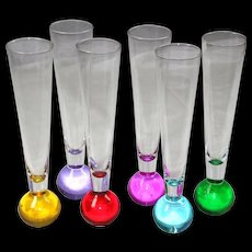 Set of Six Blown Glass Contemporary Italian Champagne Flutes