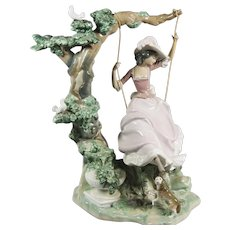 "Lladro #1297 - ""Girl on a Swing,"" Large,Glazed."
