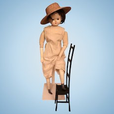 Antique very large Biedermeier Belton doll from 1880 with a iron chair