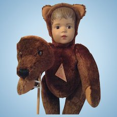 Sigikid gorgeous doll bear, doll with bear mask.