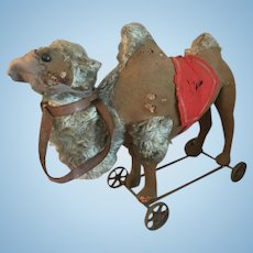 Huge rare antique camel from Steiff on wheels museum item - ca. 1890