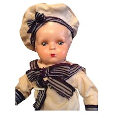 Antique character sailor doll - ca 1940.