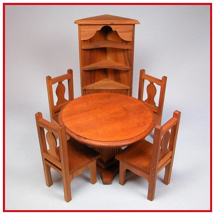 6 Pc Dollhouse Dining Room Furniture Set 1920s 1930s Large 1