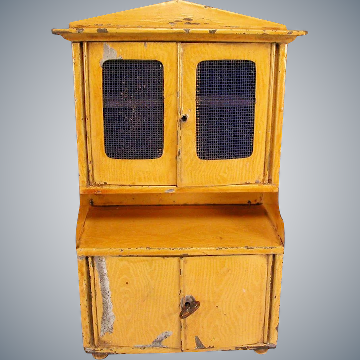 Antique Bing Dollhouse Kitchen Hutch With Faux Grain Painted Sheet Metal Early 1900s Large 1 Scale
