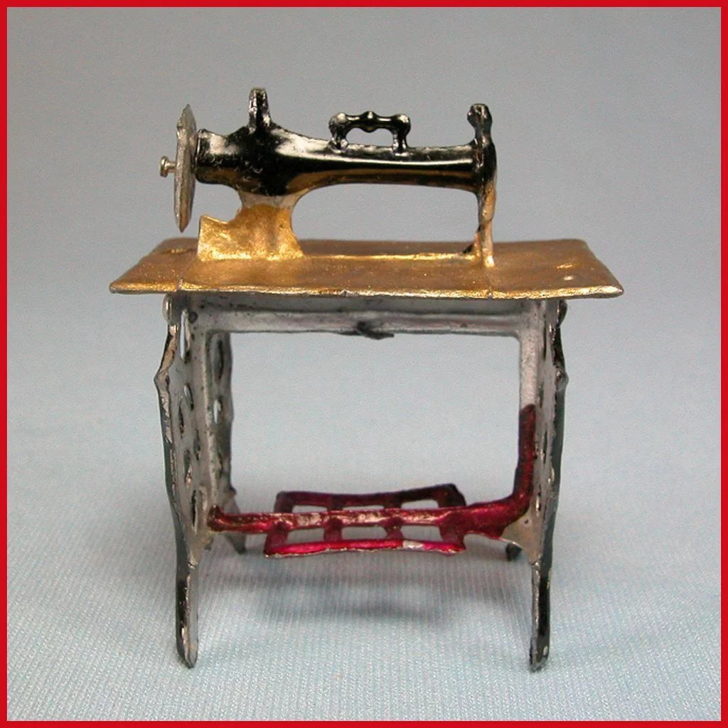 Antique Dollhouse Painted Soft Metal Sewing Machine And