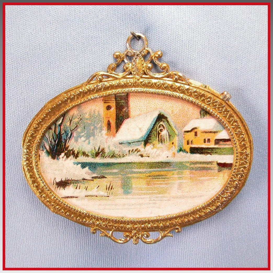 Antiques Collectibles: Antique German Dollhouse Gilt Metal Picture Frame With