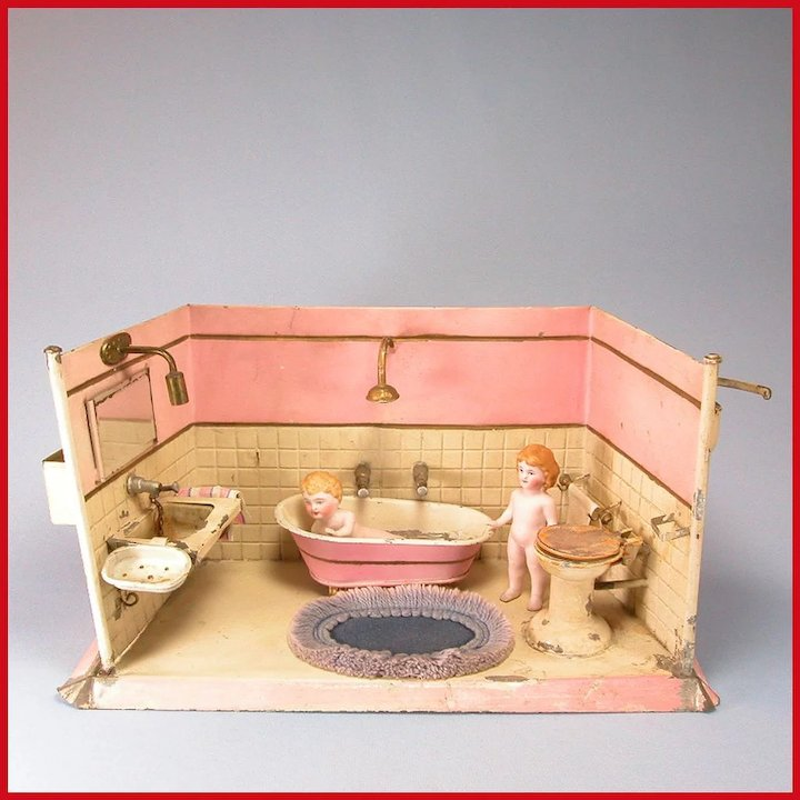 Deluxe German Painted Tin Bathroom with Fixtures Water Reservoirs ...