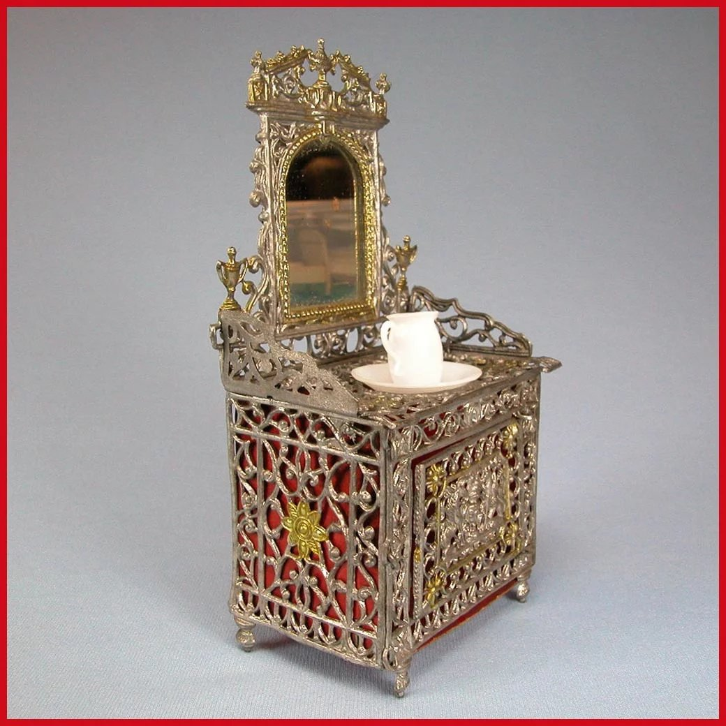 Antiques Collectibles: Antique German Dollhouse Soft Metal Mirrored Vanity With