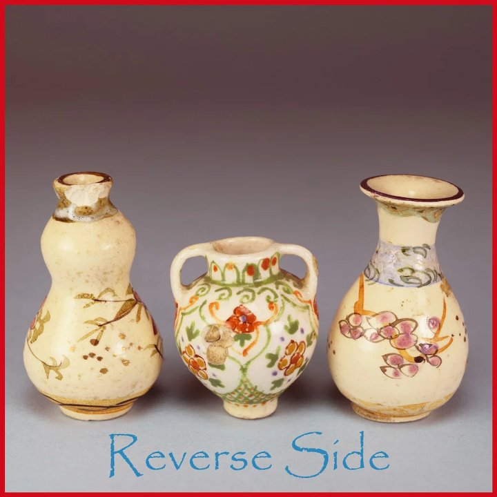 Two Miniature Japanese Pottery Vases Porcelain Urn 1 Scale Curley