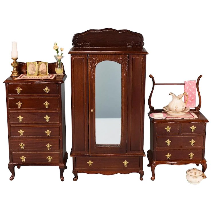 Set of 3 Sterling Hall Miniatures Dollhouse Bedroom Furniture with ...
