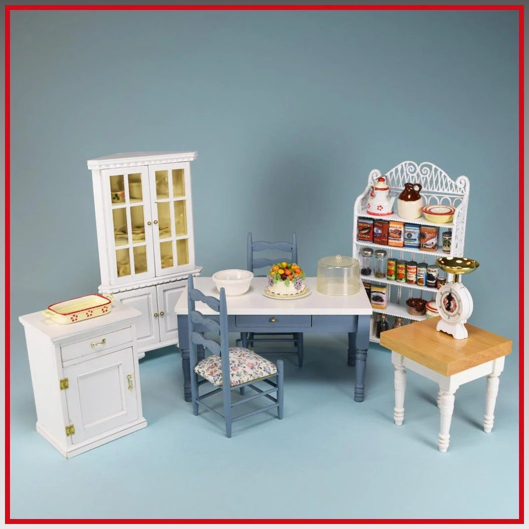 Vintage Dollhouse Miniature Kitchen Furniture by Concord and Others ...