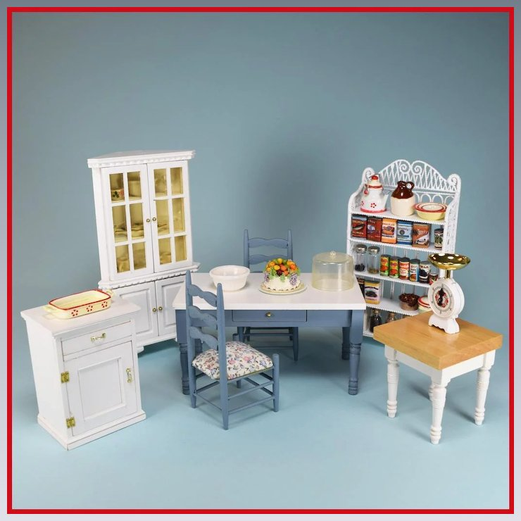 Vintage Dollhouse Miniature Kitchen Furniture By Concord And Others