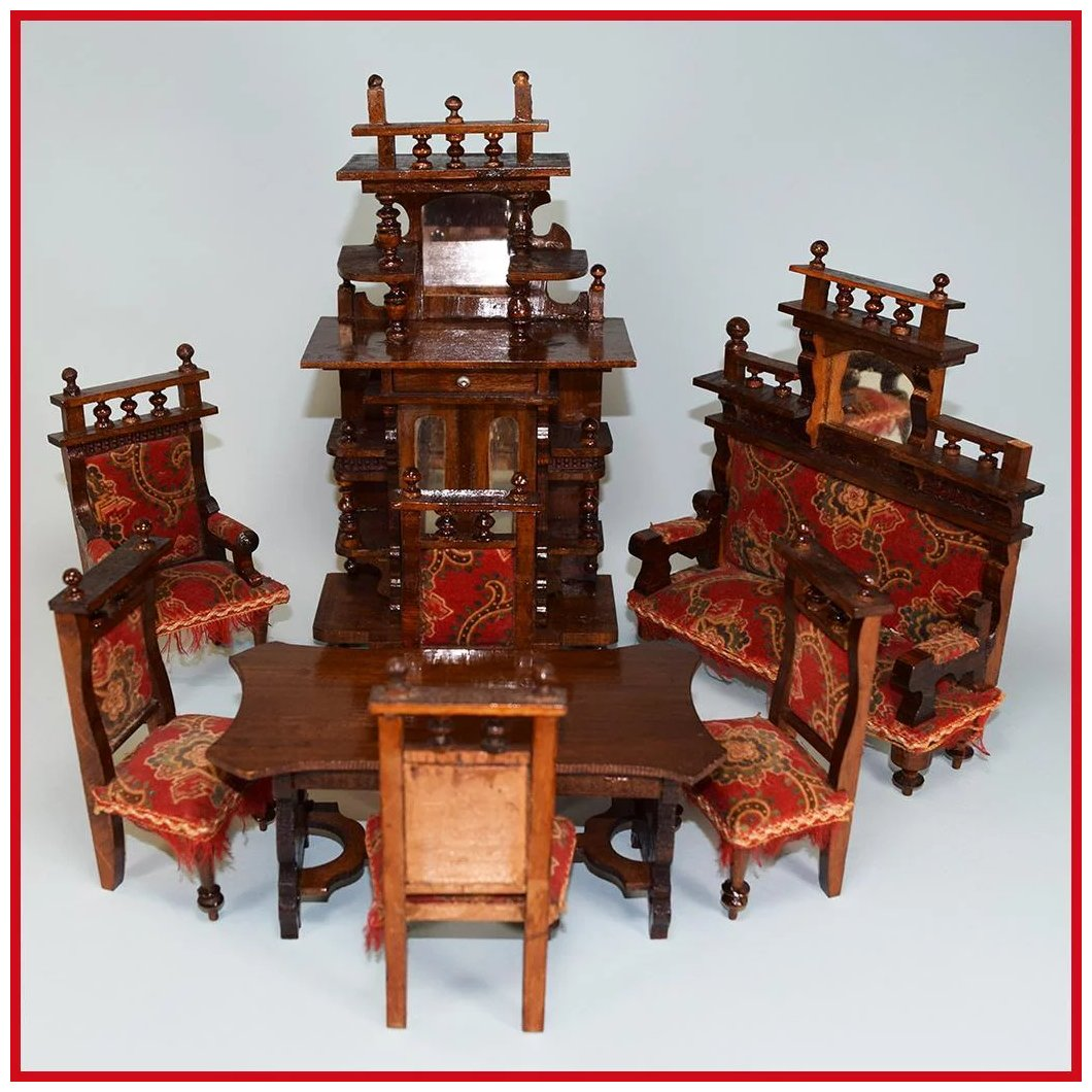 8 Piece Wooden Antique German Dollhouse Furniture Set Late 1800s Large Curley Creek Antiques Collectibles Ruby Lane