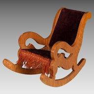 "Antique German Oak Dollhouse Rocking Chair – Late 1800s Large 1"" Scale"