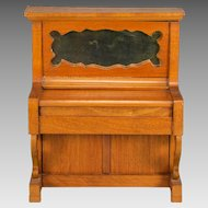 """Antique German Dollhouse Upright Piano by Schneegas – Late 1800s 1"""" Scale"""