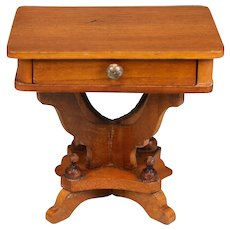 """Fancy Antique German Schneegas Dollhouse Sewing Table – Late 1800s Large 1"""" Scale - Red Tag Sale Item"""