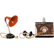 """German Crystal Radio with Earphones and Speaker 1920s – 1930s Large 1"""" Scale"""