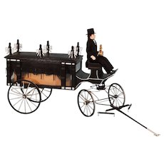 """Handcrafted Dollhouse Miniature Horse Drawn Hearse by Roy Peters 1"""" Scale"""