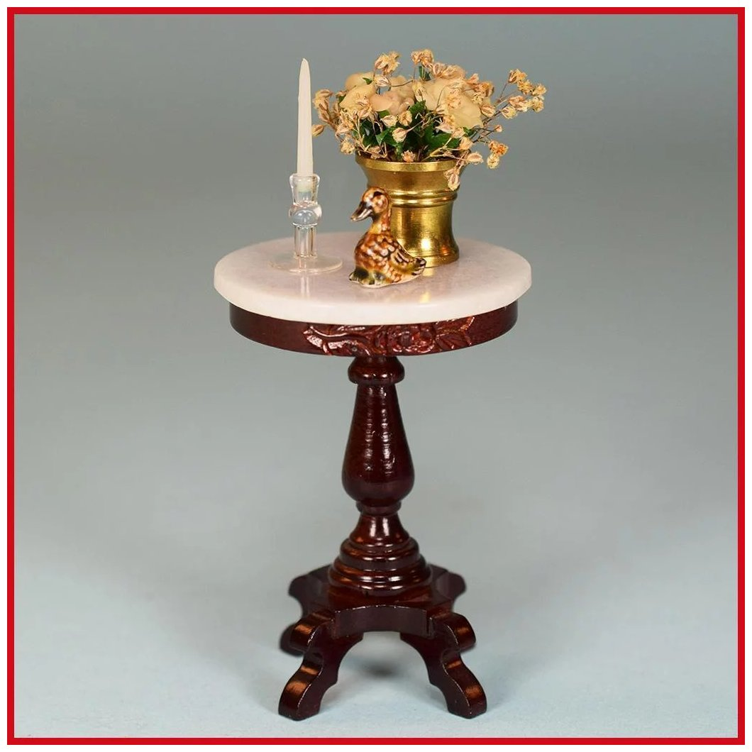 Dollhouse Miniature Hand Carved Round White Table