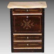 """Antique Dollhouse Biedermeier Boulle Drop Front Secretary Late 1800s 1"""" Scale"""