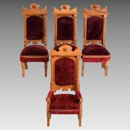 """Set of 4 Antique German Dollhouse Oak Chairs Early 1900s Large 1"""" Scale"""
