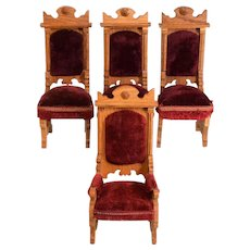 "Set of 4 Antique German Dollhouse Oak Chairs Early 1900s Large 1"" Scale"