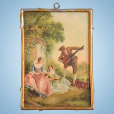 """German Dollhouse Romantic Picture with Gilt Soft Metal Frame 1910s – 1930s 1"""" Scale"""