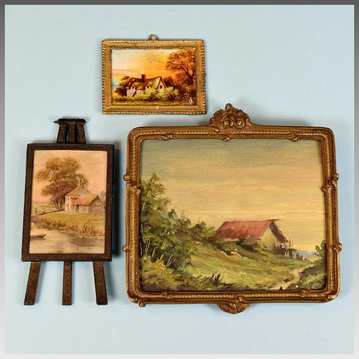3 Vintage Dollhouse Landscape Pictures with Metal Frames Large One ...