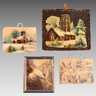 "4 Antique and Vintage Dollhouse Religious Pictures 1"" Scale"