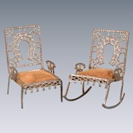 "Antique Dollhouse Soft Metal Fairy Furniture by Adrian Cooke Set of 2 Late 1800s Large 1"" Scale"
