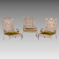 "Set of 3 Antique Dollhouse Soft Metal Furniture by Adrian Cooke Late 1800s Large 1"" Scale"